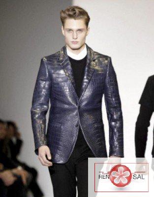 Кожаная куртка пиджак под крокодила.  Comment on Дубленки, шубы, кожаные куртки 2012-2013 на Неделе мужской моды в...